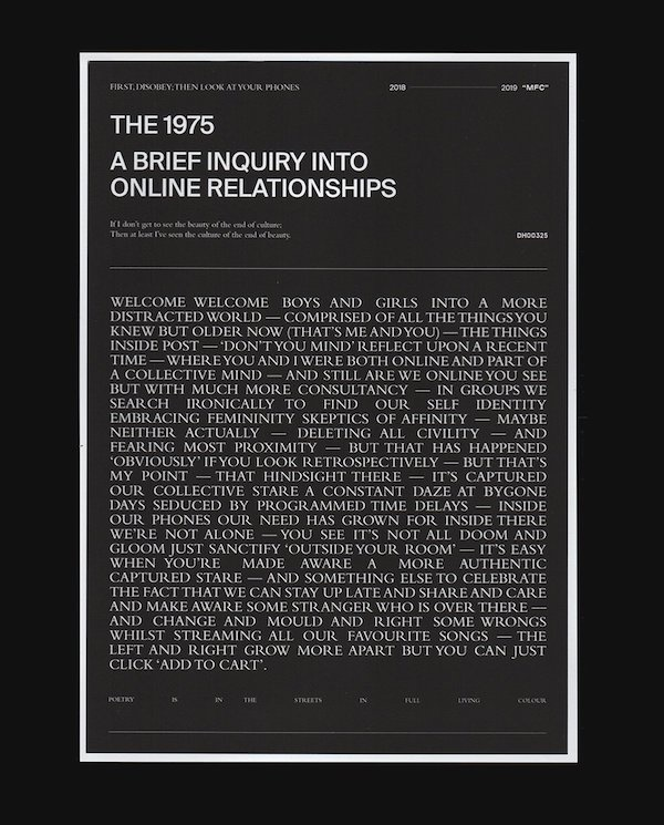 The 1975 Release A Brief Inquiry Into Online Relationships Letter